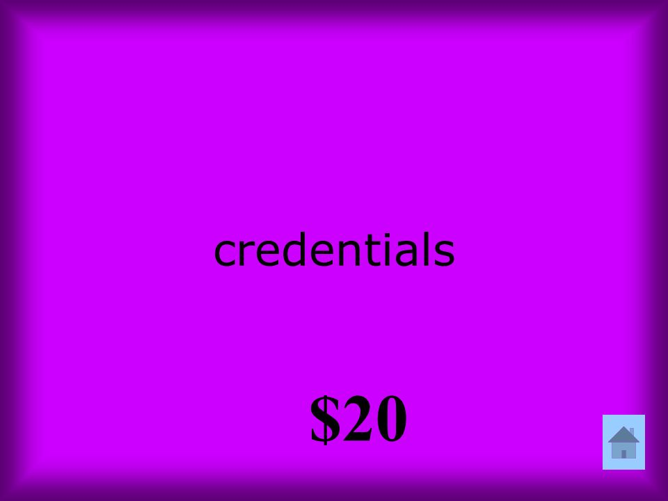 credentials $20