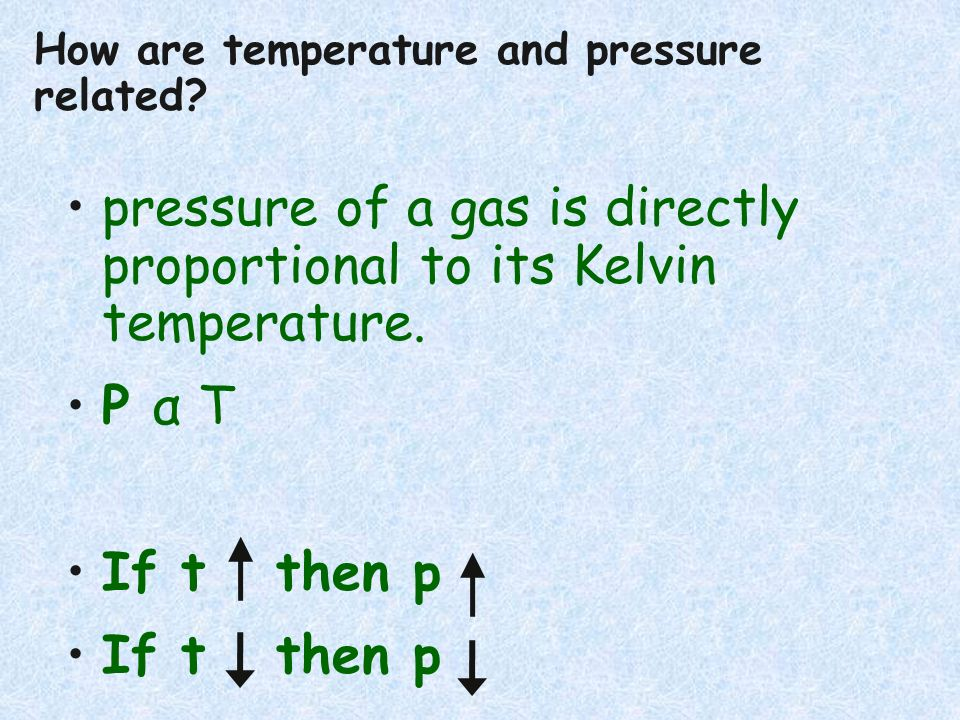 pressure of a gas is directly proportional to its Kelvin temperature. P α T If t then p How are temperature and pressure related?