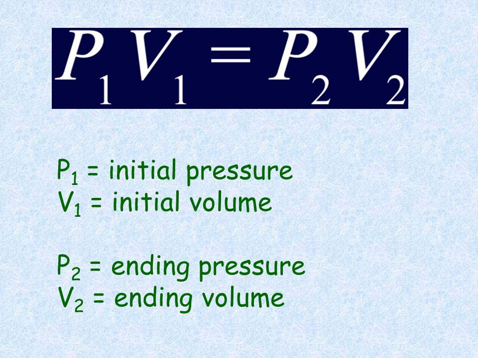 P 1 = initial pressure V 1 = initial volume P 2 = ending pressure V 2 = ending volume