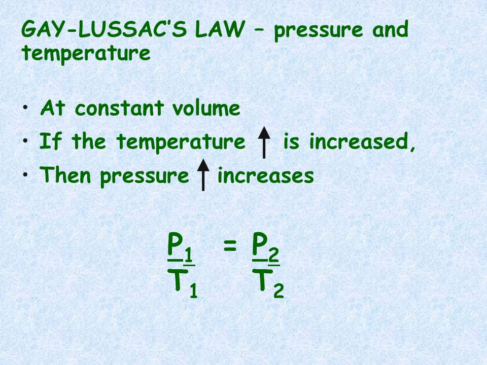GAY-LUSSACS LAW – pressure and temperature At constant volume If the temperature is increased, Then pressure increases P 1 = P 2 T 1 T 2
