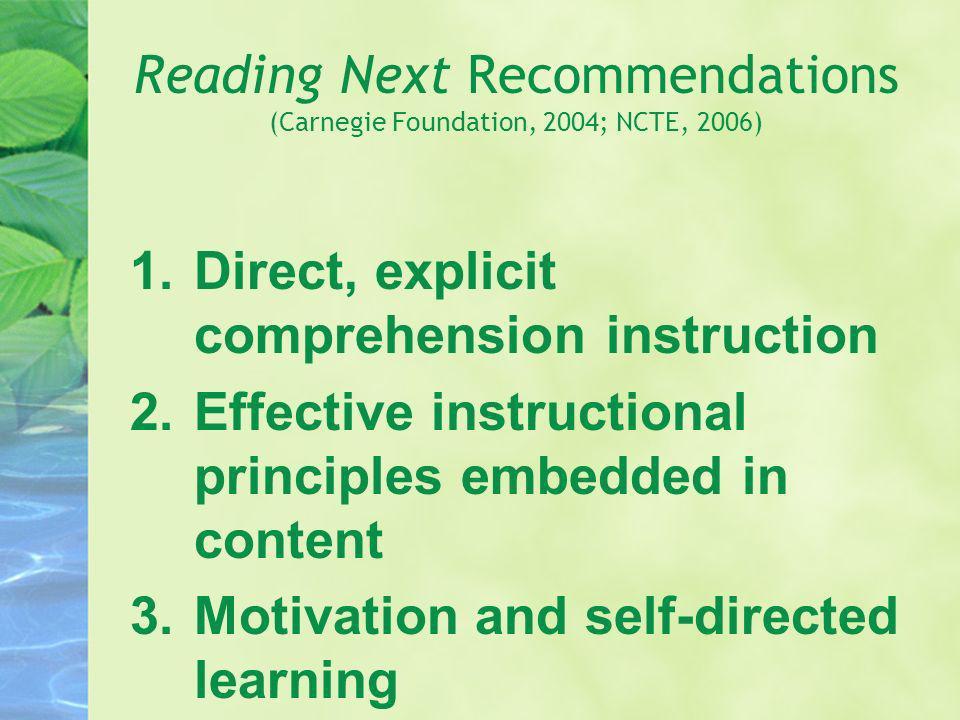 Reading Next Recommendations (Carnegie Foundation, 2004; NCTE, 2006) 1.Direct, explicit comprehension instruction 2.Effective instructional principles