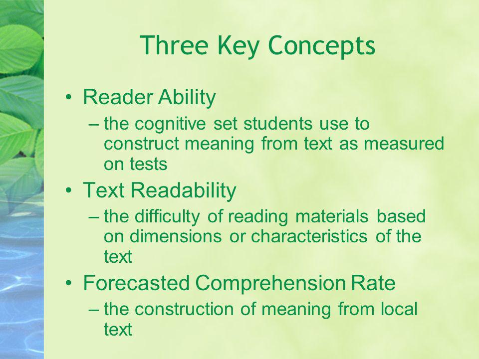 Three Key Concepts Reader Ability –the cognitive set students use to construct meaning from text as measured on tests Text Readability –the difficulty