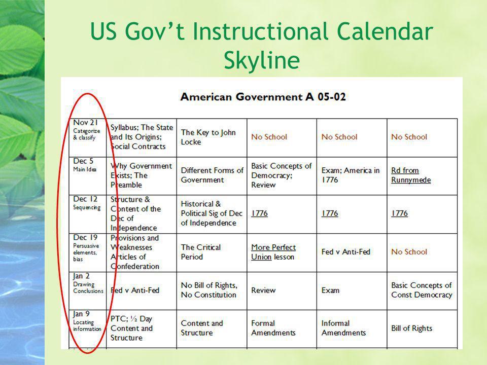 US Govt Instructional Calendar Skyline