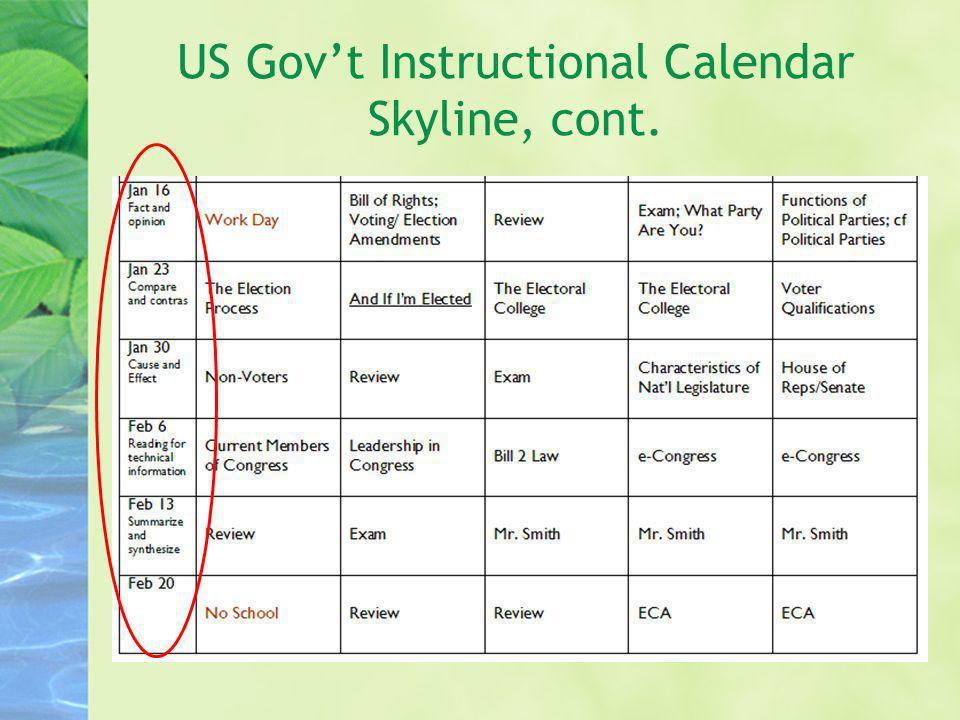 US Govt Instructional Calendar Skyline, cont.