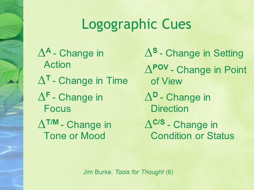 Logographic Cues A - Change in Action T - Change in Time F - Change in Focus T/M - Change in Tone or Mood S - Change in Setting POV - Change in Point