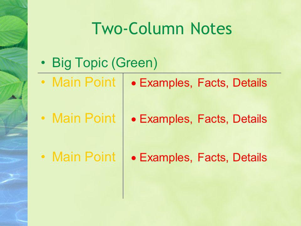 Two-Column Notes Big Topic (Green) Main Point Examples, Facts, Details