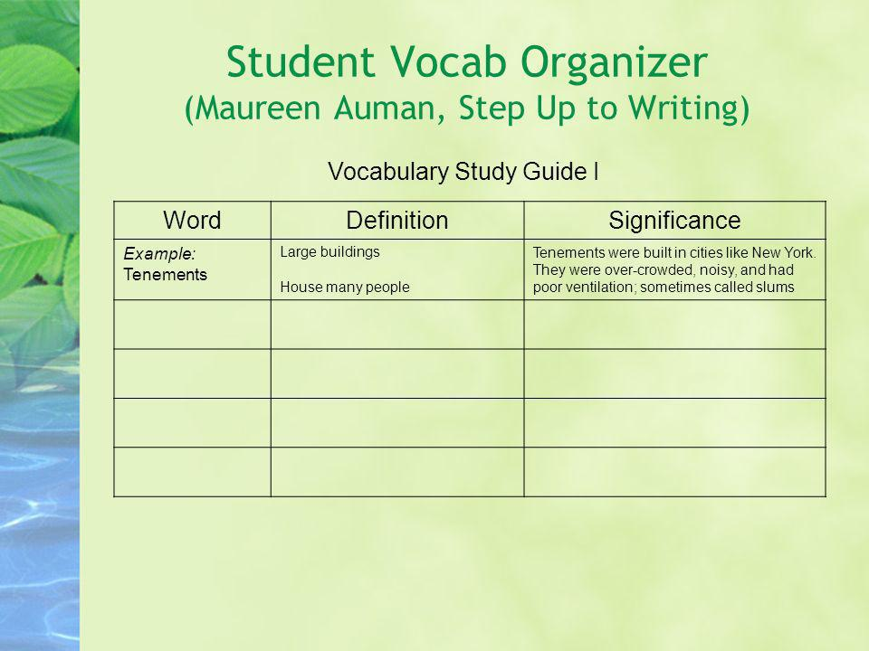 Student Vocab Organizer (Maureen Auman, Step Up to Writing) Vocabulary Study Guide I WordDefinitionSignificance Example: Tenements Large buildings Hou
