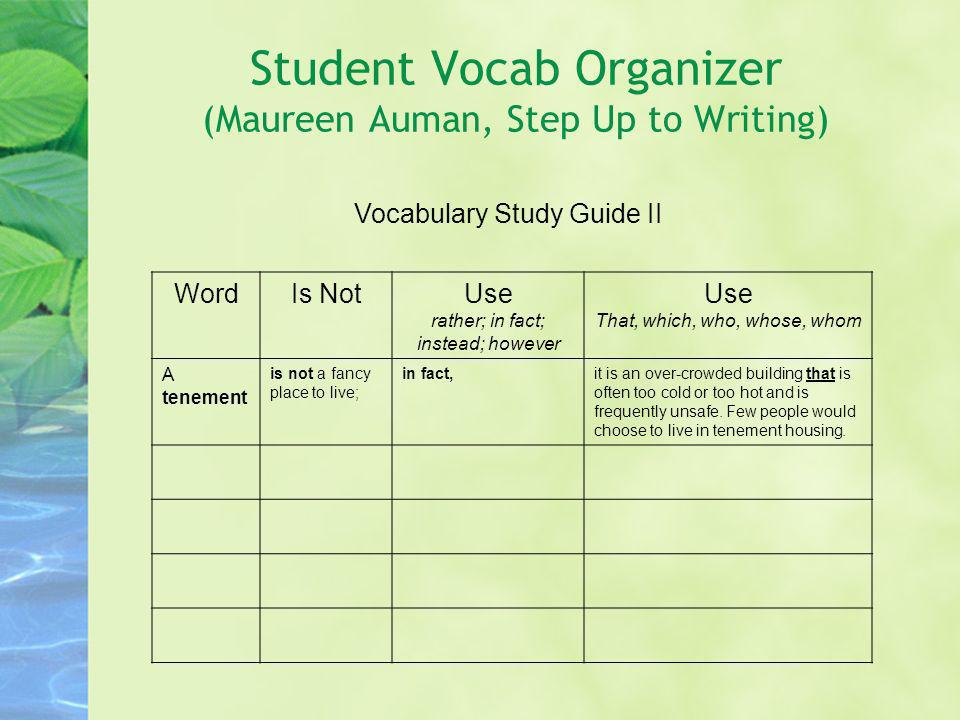 Student Vocab Organizer (Maureen Auman, Step Up to Writing) Vocabulary Study Guide II WordIs NotUse rather; in fact; instead; however Use That, which,