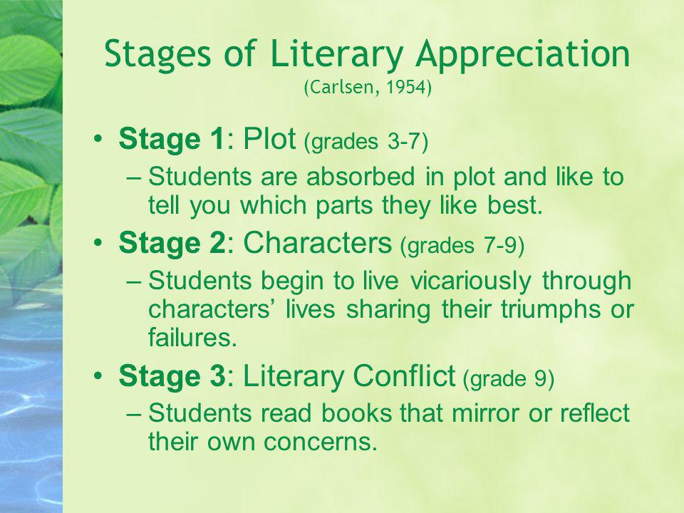 Stages of Literary Appreciation (Carlsen, 1954) Stage 1: Plot (grades 3-7) –Students are absorbed in plot and like to tell you which parts they like b