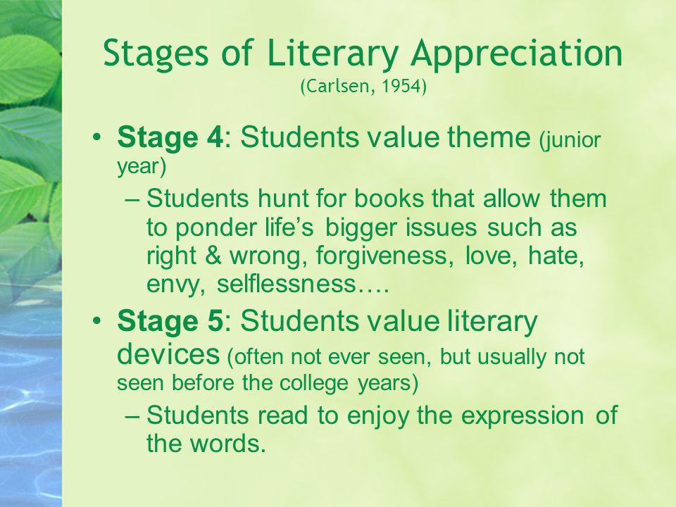 Stages of Literary Appreciation (Carlsen, 1954) Stage 4: Students value theme (junior year) –Students hunt for books that allow them to ponder lifes b