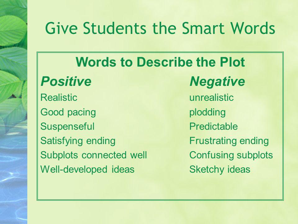 Give Students the Smart Words Words to Describe the Plot PositiveNegative Realisticunrealistic Good pacingplodding SuspensefulPredictable Satisfying e