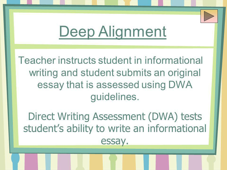 Teacher instructs student in informational writing and student submits an original essay that is assessed using DWA guidelines.