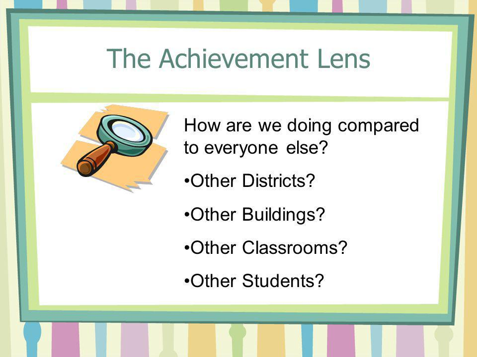 The Achievement Lens How are we doing compared to everyone else.
