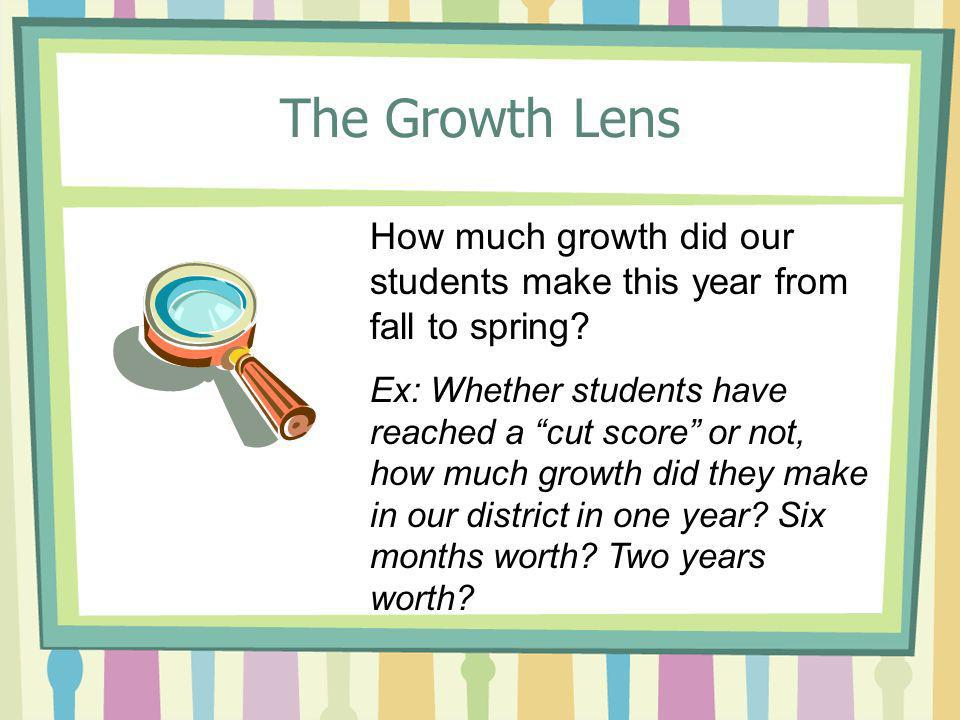 The Growth Lens How much growth did our students make this year from fall to spring? Ex: Whether students have reached a cut score or not, how much gr