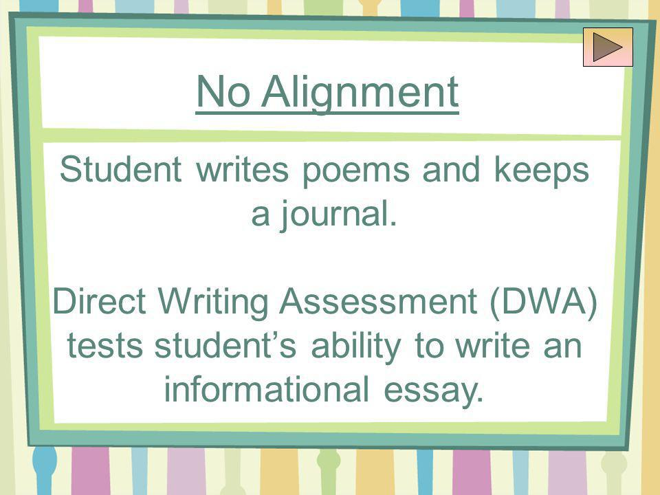 No Alignment Student writes poems and keeps a journal.