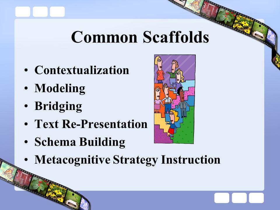 Common Scaffolds Contextualization Modeling Bridging Text Re-Presentation Schema Building Metacognitive Strategy Instruction
