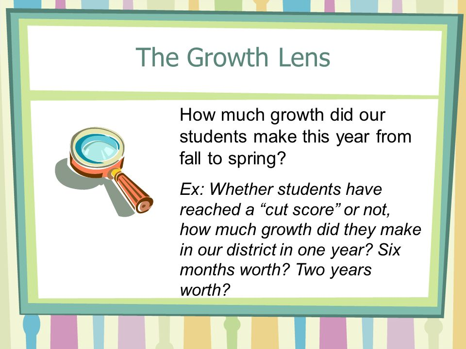 The Growth Lens How much growth did our students make this year from fall to spring.