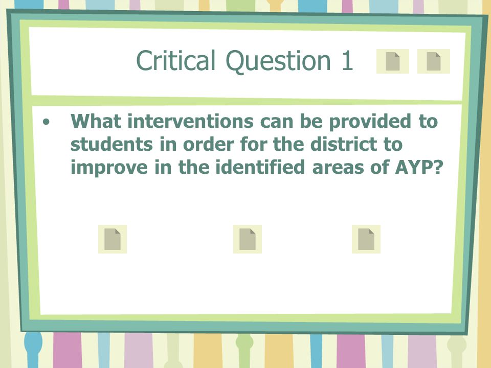Critical Question 1 What interventions can be provided to students in order for the district to improve in the identified areas of AYP?