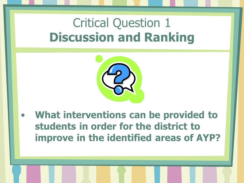 Critical Question 1 Discussion and Ranking What interventions can be provided to students in order for the district to improve in the identified areas of AYP