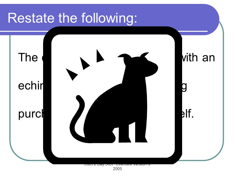 CMS 2 Day SIOP Overview Version IV 2005 Restate the following: The cat defenestrated the dog with an echinated bat. However, the dog purchased the sil