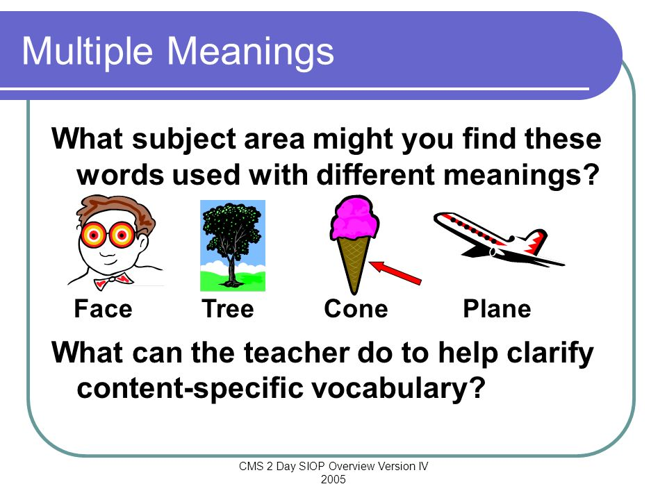 CMS 2 Day SIOP Overview Version IV 2005 Multiple Meanings What subject area might you find these words used with different meanings? What can the teac
