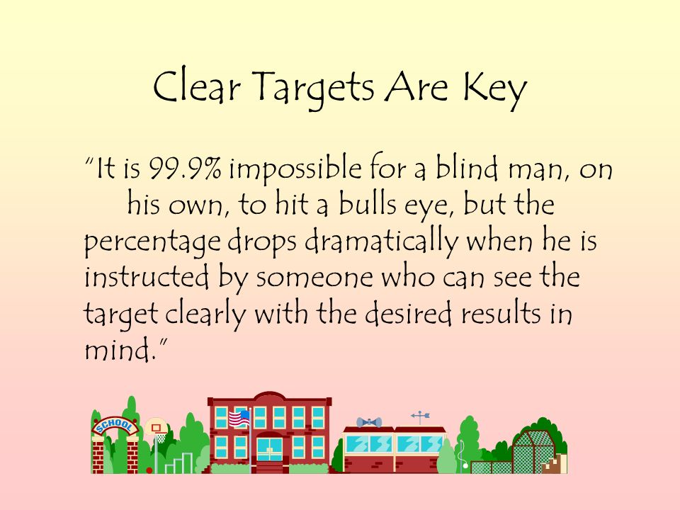 Clear Targets Are Key It is 99.9% impossible for a blind man, on his own, to hit a bulls eye, but the percentage drops dramatically when he is instructed by someone who can see the target clearly with the desired results in mind.