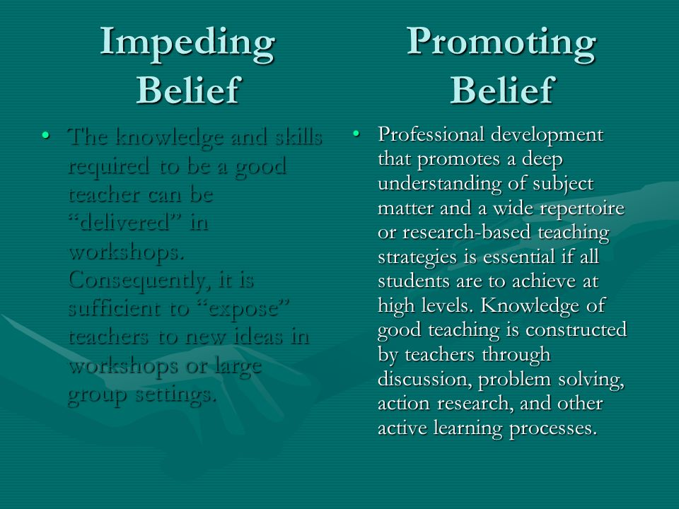 Impeding Belief The knowledge and skills required to be a good teacher can be delivered in workshops.