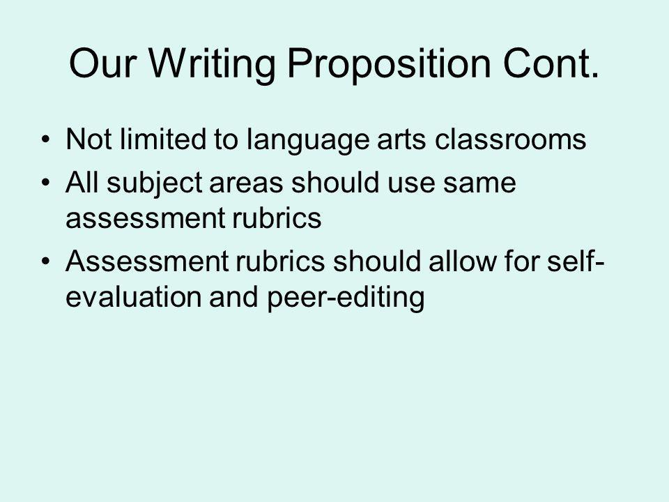 Our Writing Proposition Cont.