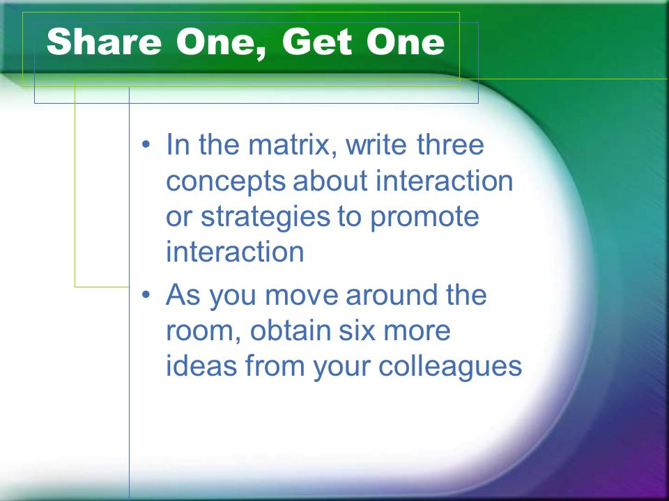 Share One, Get One In the matrix, write three concepts about interaction or strategies to promote interaction As you move around the room, obtain six more ideas from your colleagues