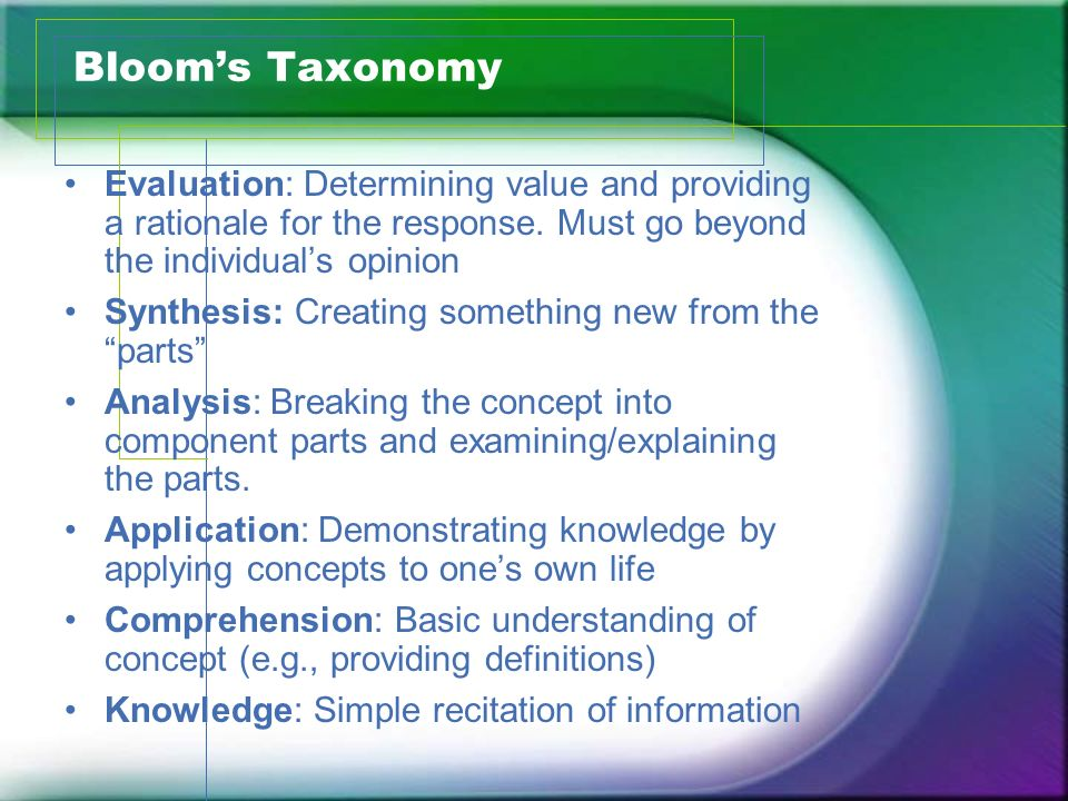 Blooms Taxonomy Evaluation: Determining value and providing a rationale for the response. Must go beyond the individuals opinion Synthesis: Creating s