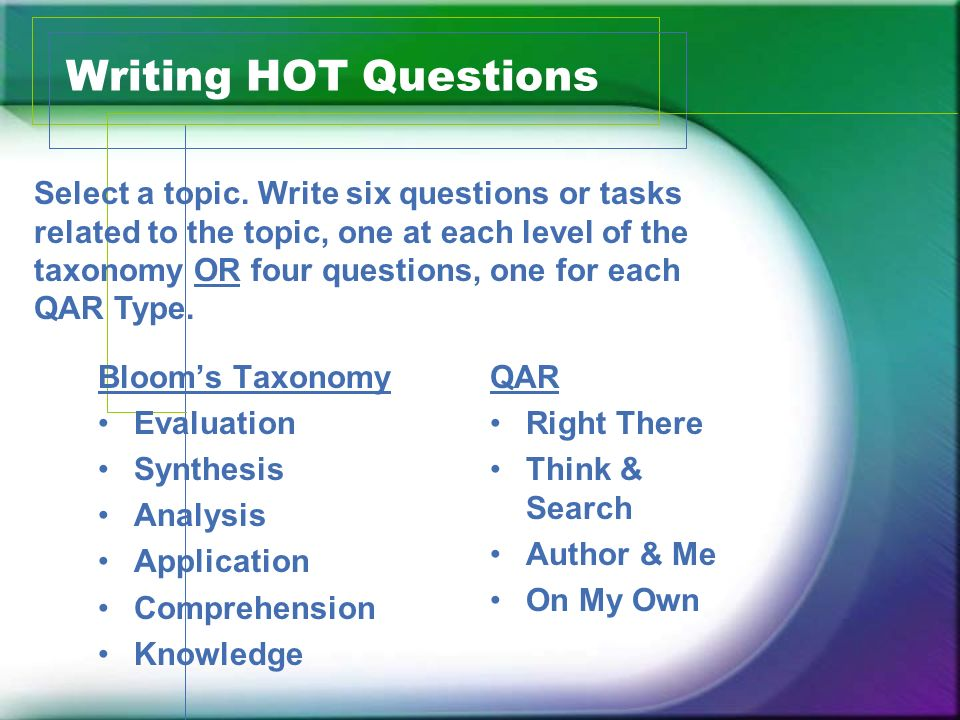 Writing HOT Questions Blooms Taxonomy Evaluation Synthesis Analysis Application Comprehension Knowledge QAR Right There Think & Search Author & Me On