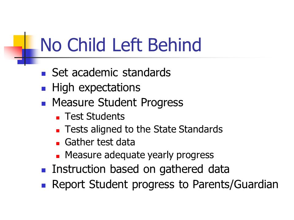 No Child Left Behind Set academic standards High expectations Measure Student Progress Test Students Tests aligned to the State Standards Gather test