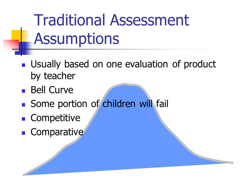 Traditional Assessment Assumptions Usually based on one evaluation of product by teacher Bell Curve Some portion of children will fail Competitive Com