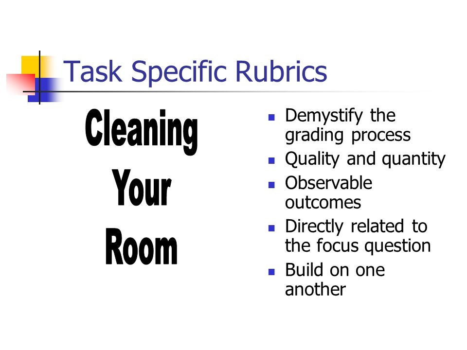 Task Specific Rubrics Demystify the grading process Quality and quantity Observable outcomes Directly related to the focus question Build on one anoth