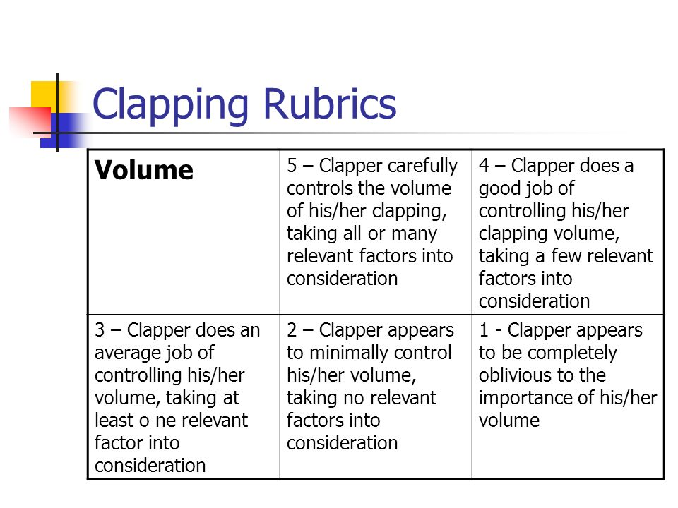 Clapping Rubrics Volume 5 – Clapper carefully controls the volume of his/her clapping, taking all or many relevant factors into consideration 4 – Clap
