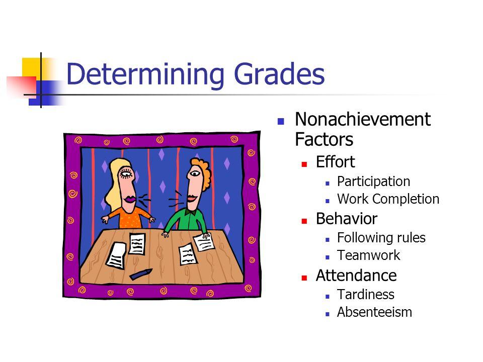 Determining Grades Nonachievement Factors Effort Participation Work Completion Behavior Following rules Teamwork Attendance Tardiness Absenteeism