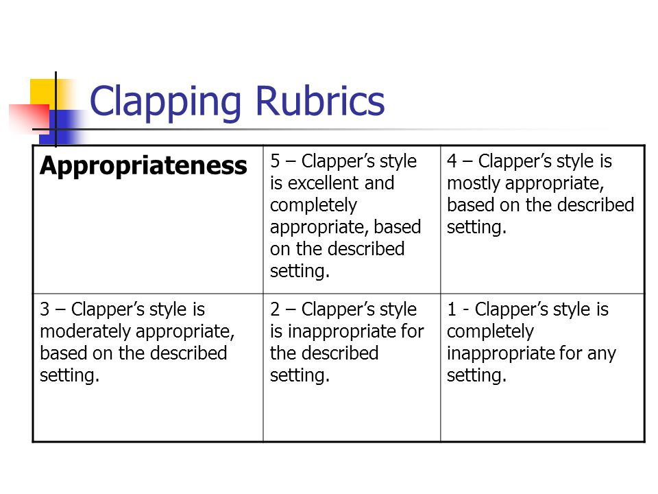 Clapping Rubrics Appropriateness 5 – Clappers style is excellent and completely appropriate, based on the described setting. 4 – Clappers style is mos