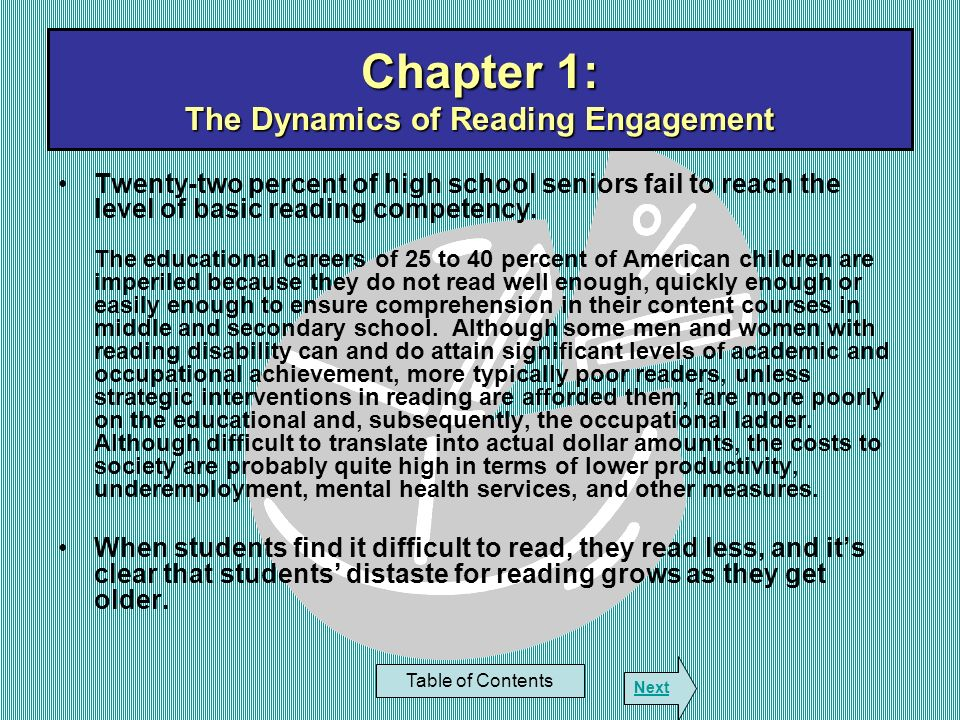 Chapter 5: Why Lexiles Work Table of Contents Next Strategies That Cause Students to Make Transformations: Readers are liable to be more alert and engaged in the text when they can transform the text from the authors words into those of the reader –Translate or retell what one has read with the text available –Recall / retell without looking back at the text –Rewrite / summarize with the text available –Summarize without consulting the text –Outline with and without available text –Represent the text in a student – constructed graphic organizer / illustration with the text available