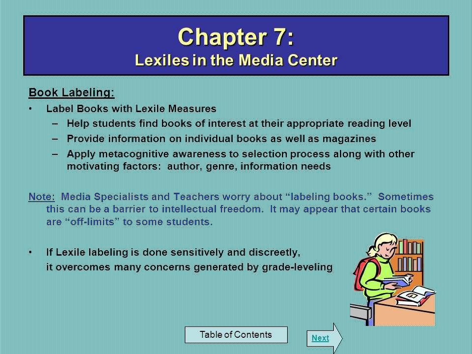 Book Labeling: Label Books with Lexile Measures –Help students find books of interest at their appropriate reading level –Provide information on indiv
