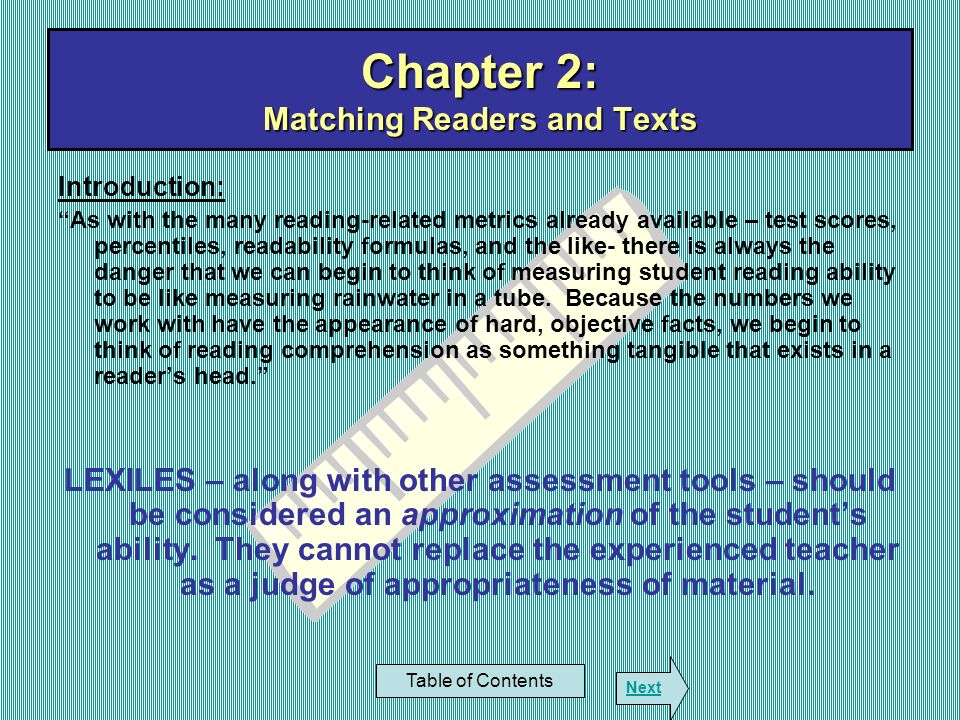 Chapter 8: Using Lexiles with Reading Management Systems Table of Contents Next The Electronic Bookshelf The first program widely available Very similar to Accelerated Reader Differences: Quizzes provide three responses instead of four Responses are drawn randomly for each quiz Provides some protection against cheating Permits student retakes Highly customizable