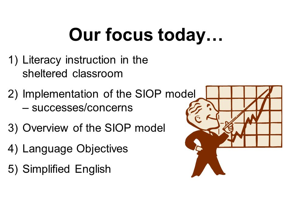 Part 3: Overview of the SIOP Model Lesson Preparation Building Background Comprehensible Input Lesson Delivery Learning Strategies Interaction Practice and Application Review / Assessment