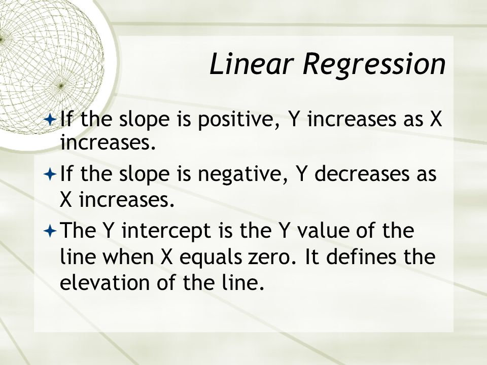 TI-83 Linear Regression Find slope (b), Intercept (a), and correlation coefficient (r): Stat Move cursor to calc 8 2nd 1, 2nd 2