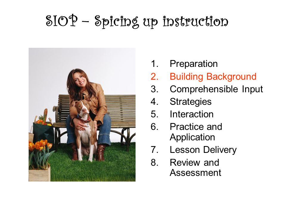 SIOP – Spicing up instruction 1.Preparation 2.Building Background 3.Comprehensible Input 4.Strategies 5.Interaction 6.Practice and Application 7.Lesson Delivery 8.Review and Assessment
