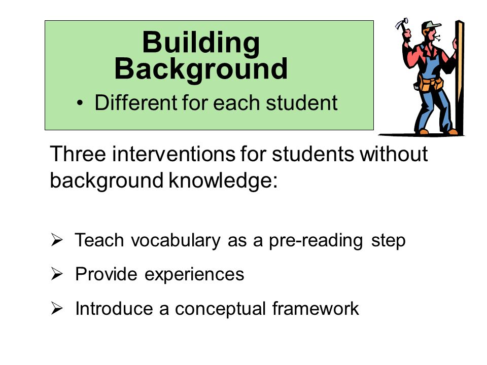 Building Background Different for each student Three interventions for students without background knowledge: Teach vocabulary as a pre-reading step Provide experiences Introduce a conceptual framework