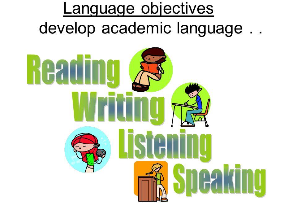 Language objectives develop academic language...