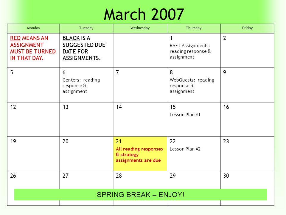 April 2007 MondayTuesdayWednesdayThursdayFriday 2345 Lesson Plan #3 6 910111213 16171819 Lesson Plans Due END OF COURSE : ALL ASSIGNMENTS MUST BE IN BY 5:00 PM.