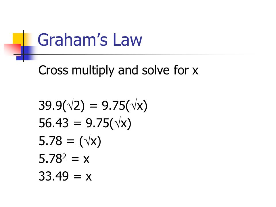 Grahams Law Cross multiply and solve for x 39.9( 2) = 9.75( x) 56.43 = 9.75( x) 5.78 = ( x) 5.78 2 = x 33.49 = x