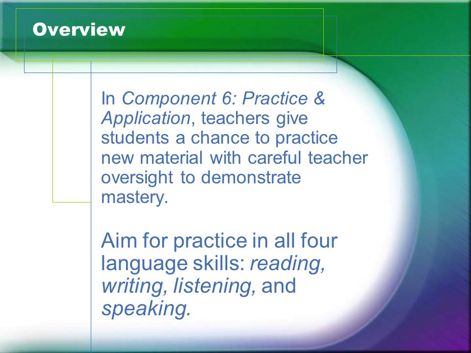 Overview In Component 6: Practice & Application, teachers give students a chance to practice new material with careful teacher oversight to demonstrat