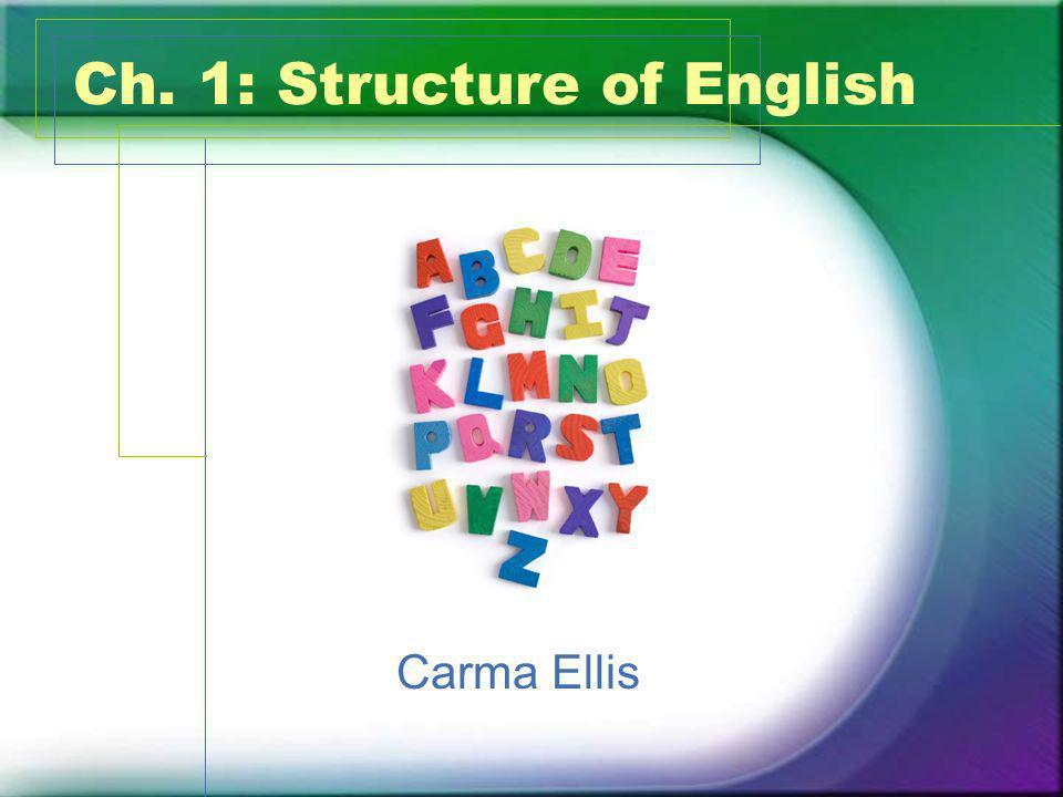 Ch. 1: Structure of English Carma Ellis