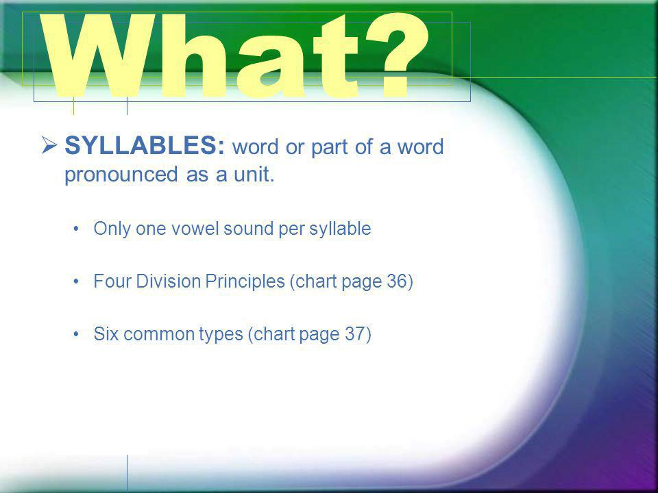SYLLABLES: word or part of a word pronounced as a unit. Only one vowel sound per syllable Four Division Principles (chart page 36) Six common types (c